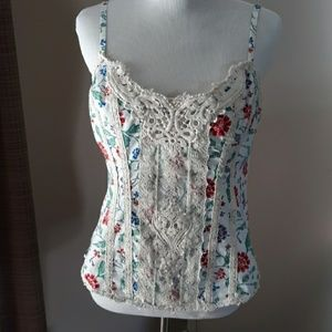 Free People floral and lace summer top size 8